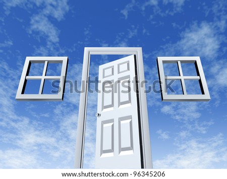 Open door to opportunity with windows and entrance on a sky background as a symbol of success and new wealth strategies for a better life or a housing concept with home elements. - stock photo