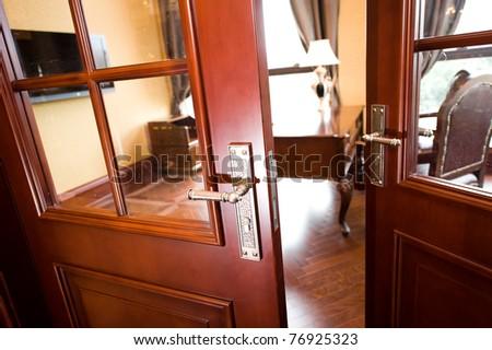 open door to the office. - stock photo