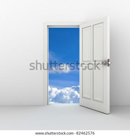Open door to the sky - stock photo