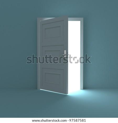 Open door to white light - stock photo