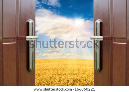 open door with a view of green meadow illuminated by bright sunshine - stock photo