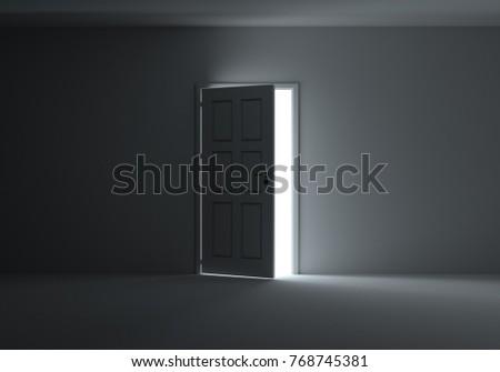 Open Door Bright Light Streaming Into Stock Illustration 569282350