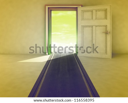 open door with highway path yellow illustration - stock photo
