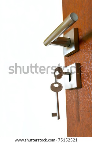 open door with keys - stock photo