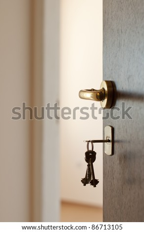 Open door with keys. Real estate - stock photo