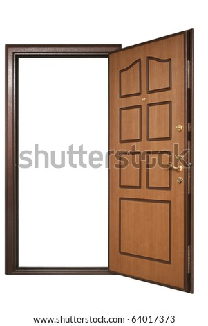 open door with wood trim with Clipping Paths - stock photo