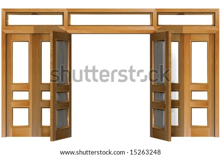 Open doors isolated on white (clipping path). Three-dimensional Shape. - stock photo