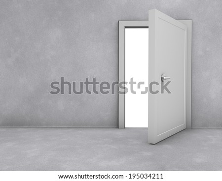 open doors simple scene with copy space, freedom and opportunity abstract concept