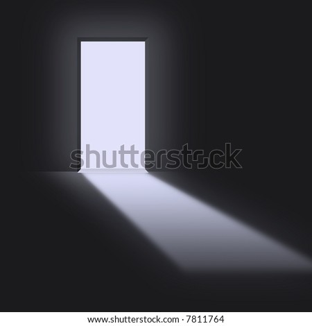 Open doorway with light streaming in - stock photo
