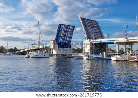 Open drawbridge in Fort Lauderdale Bridge , Florida, USA - stock photo