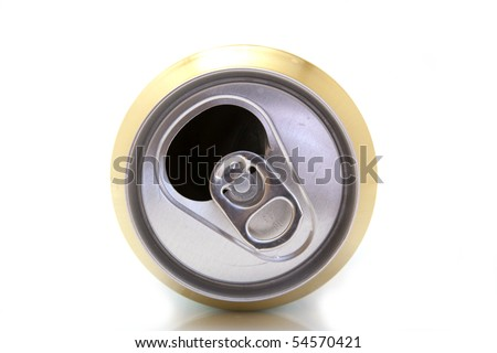 open drink can isolated on white - stock photo