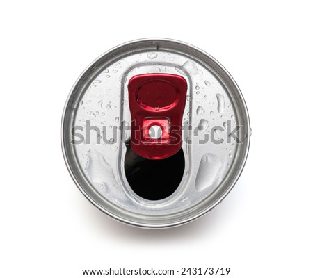 open drink can top view - stock photo