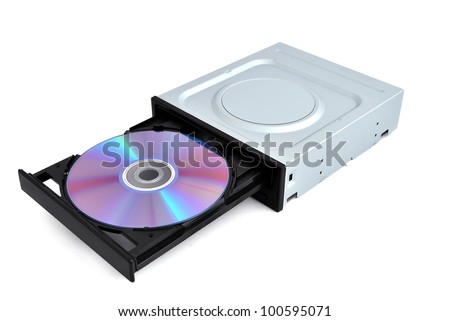 open dvd rom from a CD - stock photo