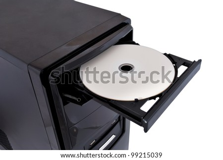 open dvd rom on a white background - stock photo