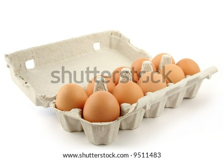 Open eggbox isolated on white background - stock photo