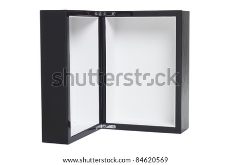 Open empty black box standing vertically on white background - stock photo
