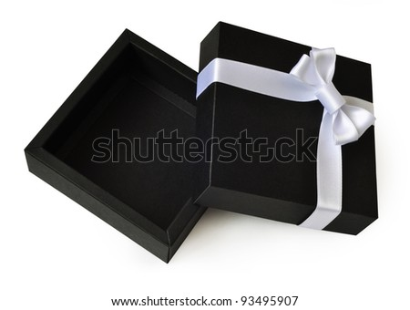 Open empty black gift box with a white ribbon bow isolated on white