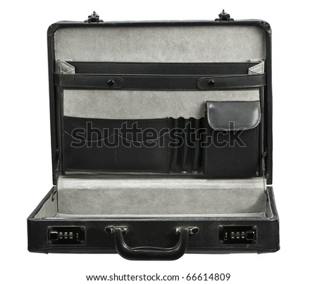 Open empty Black leather briefcase isolated on white - stock photo