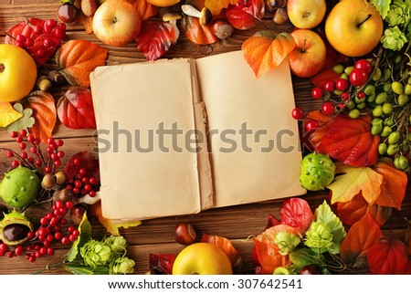 open empty book and autumn background - fruits, autumn leaves - stock photo
