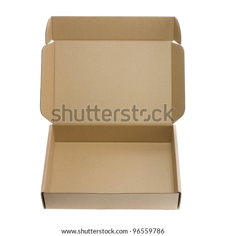 Open empty box isolated on white background