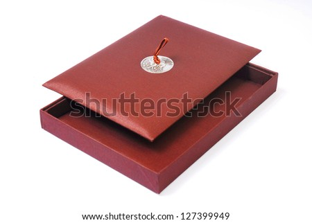 Open empty brown box on white background