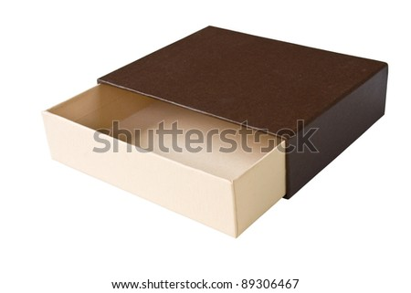 Open empty brown box on white background - stock photo