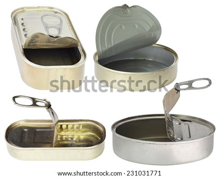 open empty cans - metal tins - stock photo