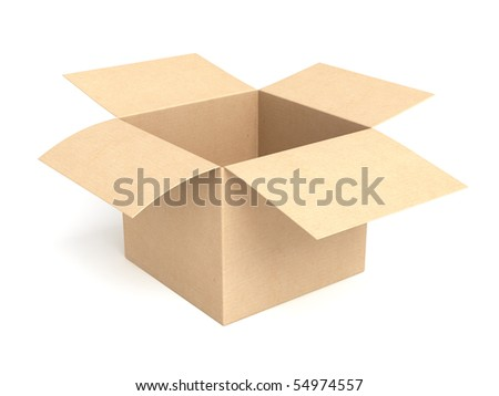 open empty cardboard box isolated