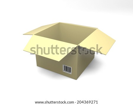 open empty cardboard box isolated on white background - stock photo