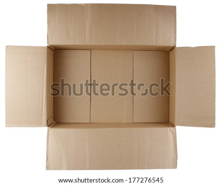 Open empty cardboard box on white background - stock photo