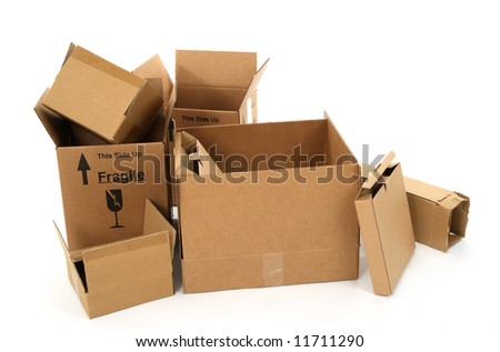 Open empty cardboard boxes on white background. - stock photo