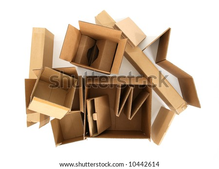 Open empty cardboard boxes, view from top. - stock photo