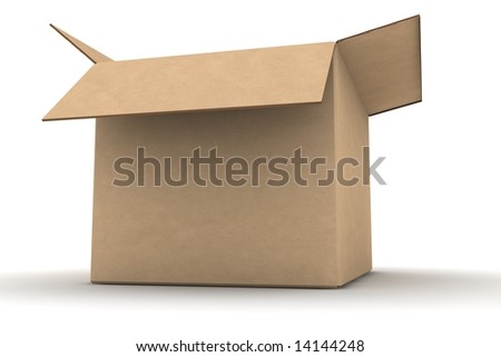 open empty cardboard #1 - photorealistic 3d illustration - stock photo