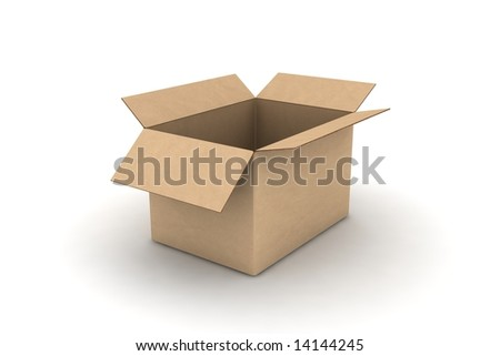 open empty cardboard #4 - photorealistic 3d render illustration - stock photo