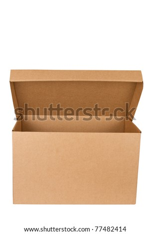 Open empty carton box isolated on white background.  Cardboard packages \ Open empty cardboard box - stock photo