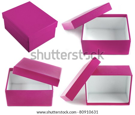 Top View Open Gift Box Open Empty Gift Box Isolated