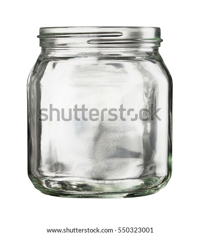 open empty glass jar isolated on stock photo edit now 550323001