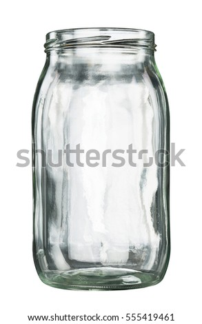 open empty glass jar isolated on stock photo edit now 555419461