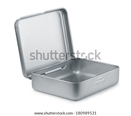 Open empty metal box isolated on white - stock photo