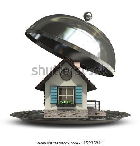 open empty metal silver platter or cloche with house  isolated on white background 3d render - stock photo