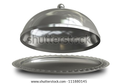open empty metal silver platter or cloche with space to place object  isolated on white background 3d render - stock photo