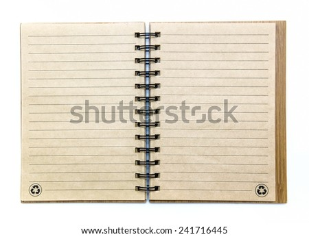 Open empty notebook with lined pages on white background - stock photo