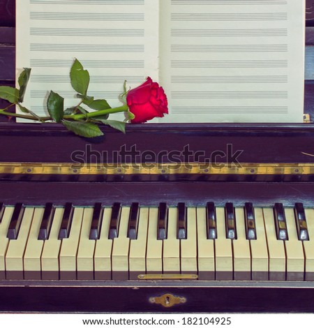 open empty notes paper  on vintage piano - stock photo