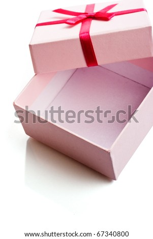 Open empty pink gift box isolated over white - stock photo