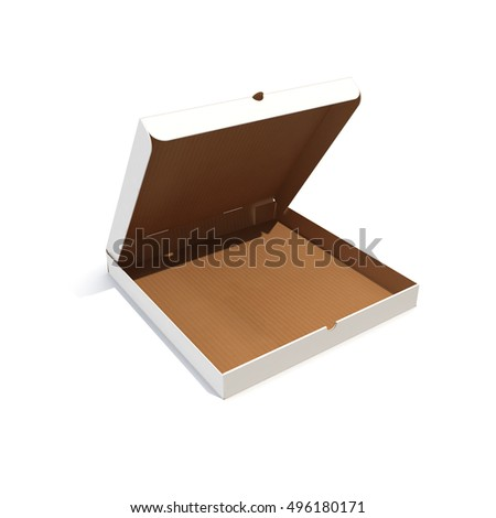 Open empty pizza box isolated on white. 3d rendering