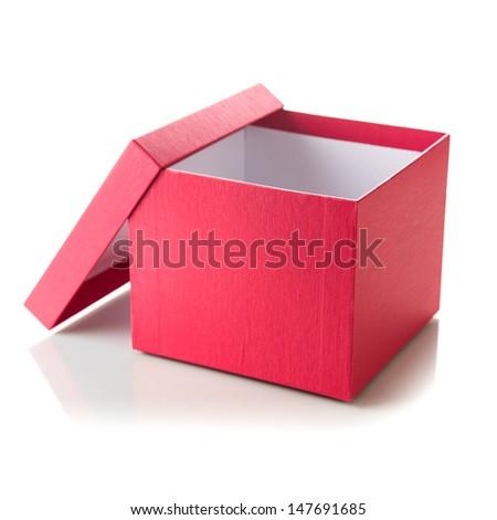Open empty red box - stock photo