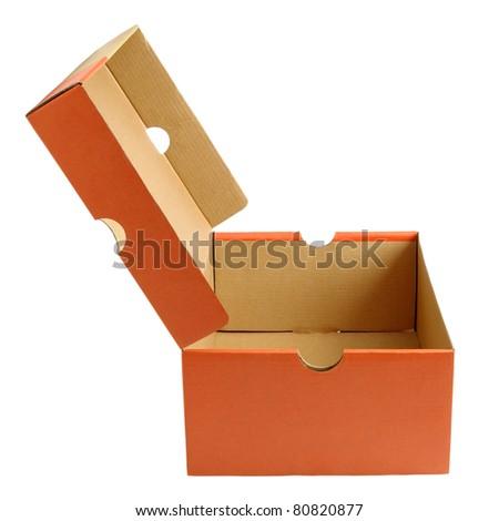 Open empty shoe cardboard box isolated on white background - stock photo