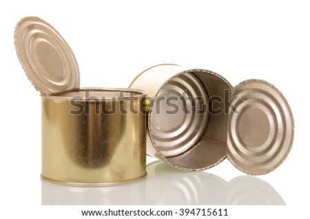Open empty tin cans isolated on white background. - stock photo