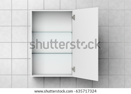 Open empty white bathroom cabinet isolated on white tiled wall with  clipping path  3d illustration. Open Empty White Bathroom Cabinet Isolated Stock Illustration