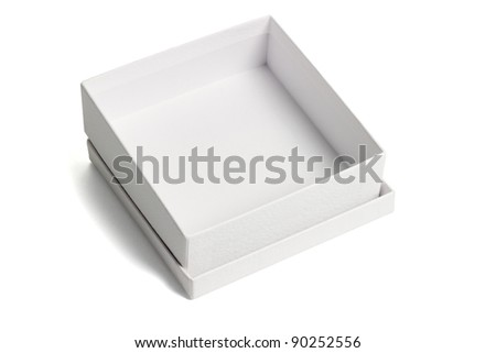 Open empty white gift box with lid on isolated background - stock photo